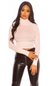 Sexy Cropped Turtleneck Sweater Pink