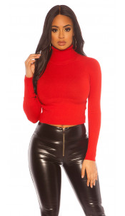 Sexy Cropped Turtleneck Sweater Red