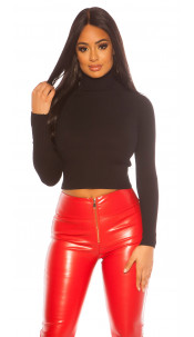 Sexy Cropped Turtleneck Sweater Black