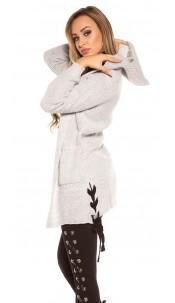 Trendy Koucla rough knit cardigan w.hoodie&lacing Grey