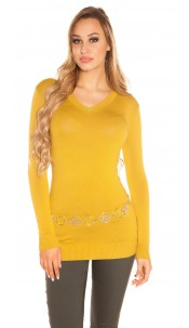 Trendy Basic V-Cut Long jumper Mustard