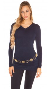 Trendy Basic V-Cut Long jumper Navy