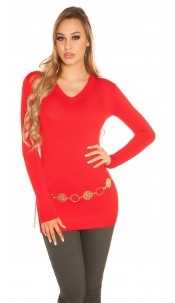 Trendy Basic V-Cut Long jumper Red