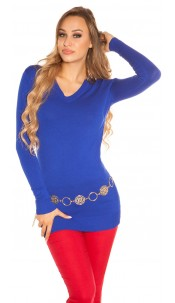 Trendy Basic V-Cut Long jumper Royalblue
