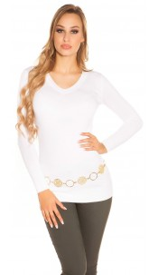 Trendy Basic V-Cut Long jumper White