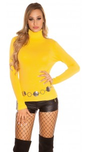 Trendy Basic Turtleneck Pullover Mustard