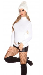 Trendy Basic Turtleneck Pullover White