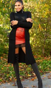 Trendy Koucla Long knit jacket with pockets Black
