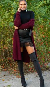 Trendy Koucla Long knit jacket with pockets Bordeaux