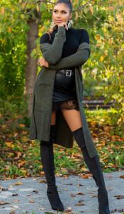 Trendy Koucla Long knit jacket with pockets Khaki