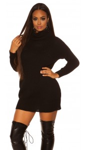 Sexy oversize knit dress Black
