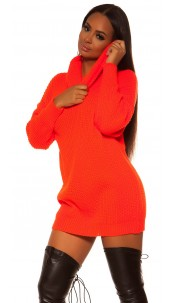 Sexy oversize knit dress Neonorange