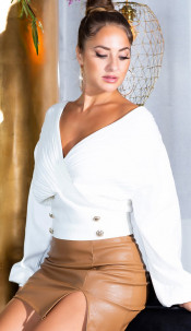 Sexy Waist length V-Neck Sweater with Deco Buttons White