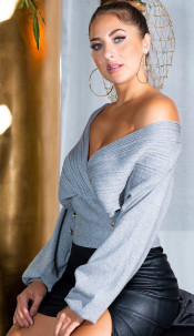 Sexy Waist length V-Neck Sweater with Deco Buttons Gray