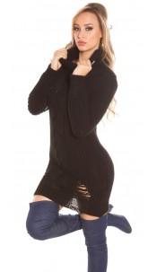 Trendy KouCla turtleneck knitdress Used Look Black
