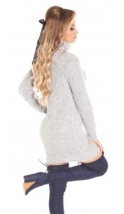 Trendy KouCla turtleneck knitdress Used Look Grey
