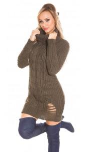 Trendy KouCla turtleneck knitdress Used Look Khaki