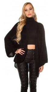 Trendy xxl losjes gebreide cardigan zwart