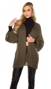 Trendy XXL loose knit jacket Khaki