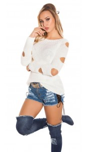 Trendy KouCla knit sweater with holes White