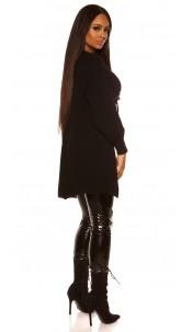 Trendy chunky knit jacket Black