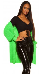 Trendy chunky knit jacket Neongreen