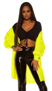 Trendy chunky knit jacket Neonyellow