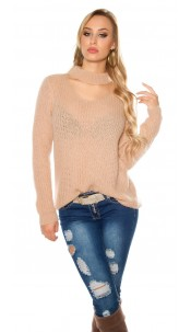 Trendy XL chunky knit mohair sweater w. cut out Antiquepink