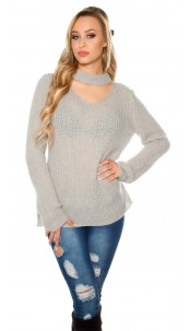 Trendy XL chunky knit mohair sweater w. cut out Grey