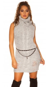 Trendy Koucla turtleneck knit minidress/longjumper Grey