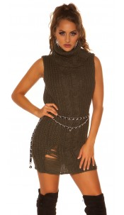 Trendy Koucla turtleneck knit minidress/longjumper Khaki