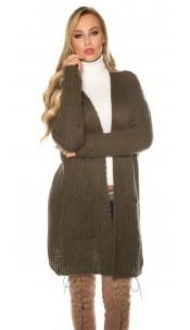 Trendy mohair chunky knit cardigan Khaki