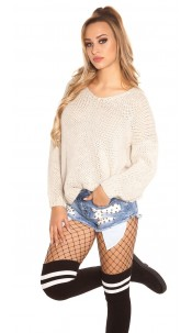 Trendy KouCla V-cut chunky knit jumper oversized Beige
