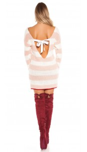 Sexy KOUCLA knit minidress/long jumper w.sexy back Pink