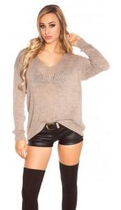 Trendy Koucla oversize chunky knit jumper Cappuccino