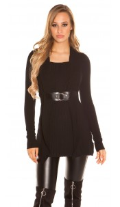 Sexy Longpulli 2in1 look with buckle Black