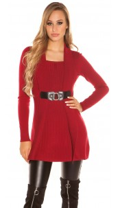 Sexy Longpulli 2in1 look with buckle Bordeaux