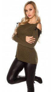 Trendy cold shoulder chunky knit mohair sweater Khaki