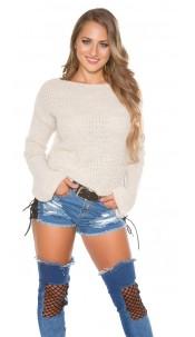 Trendy KouCla knit jumper with bell sleeve Beige