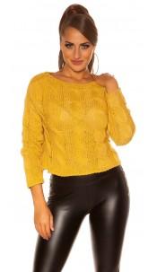 Trendy KouCla Crop plait pattern sweater Mustard