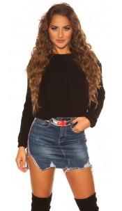 Sexy KouCla Crop knit pullover Black