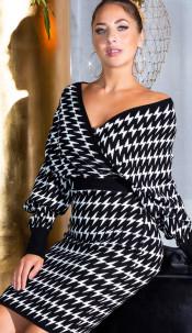 Sexy Cross V-neck Fitted Knit Dress Blackwhite