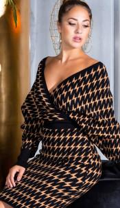 Sexy Cross V-neck Fitted Knit Dress Black