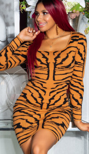 Sexy Tiger Knit Dress Bronze