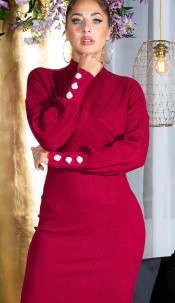 Sexy Fitted Knit Dress with Stand Up Collar Bordeaux