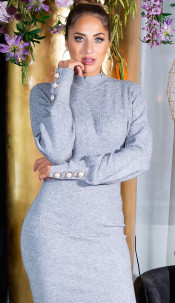 Sexy Fitted Knit Dress with Stand Up Collar Gray