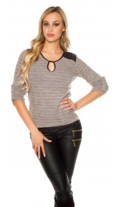 Trendy Koucla pullover with fake leather & insight Cappuccino