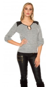 Trendy Koucla pullover with fake leather & insight Grey
