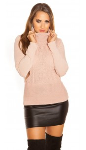 Trendy Chunky Cable knit Turtleneck jumper Pink