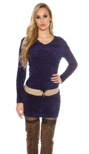 Trendy fluffy long jumper / mini dress Navy